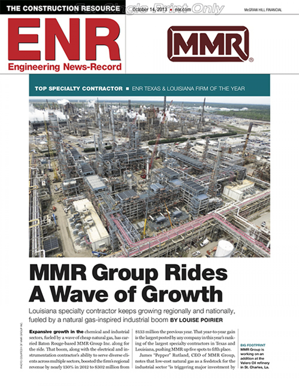 MMR Named Texas/Louisiana ENR's 2013 Specialty Contractor of the Year